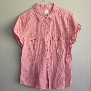 Pinstriped short sleeve button down